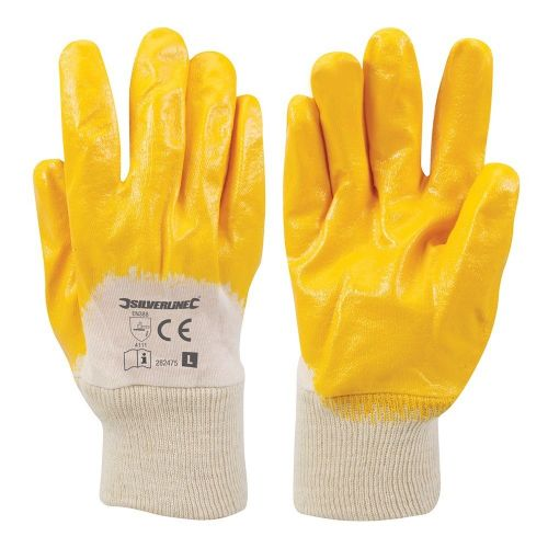 Silverline 282475 Open Back Interlock Nitrile Safety Work Glove Large